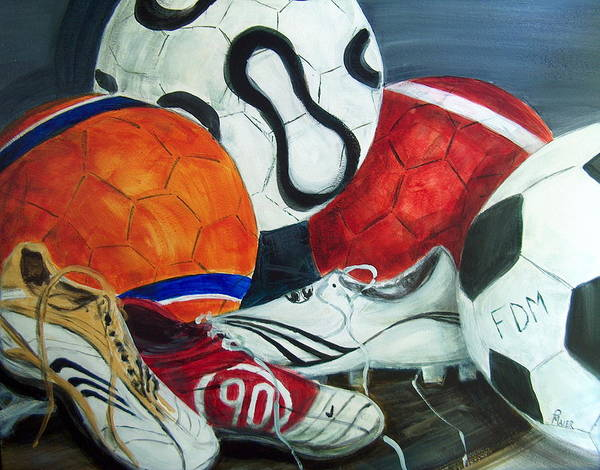Soccer Art Print featuring the painting Boots N Balls by Pete Maier