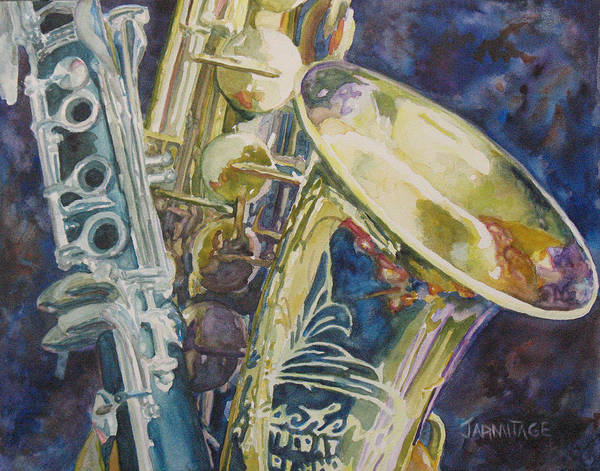 Sax Art Print featuring the painting Bouquet Of Reeds by Jenny Armitage