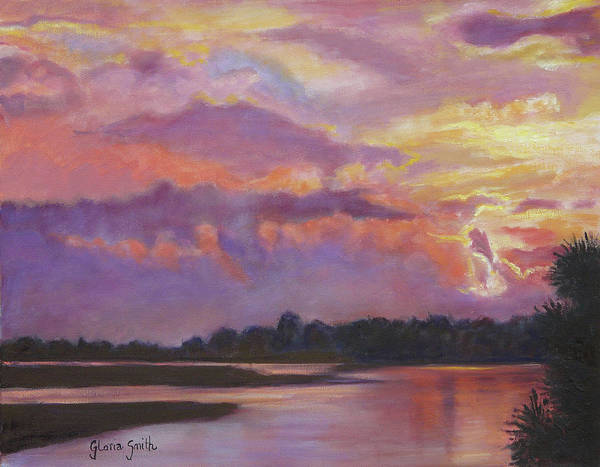 Sunset Art Print featuring the painting Bowen's Island by Gloria Smith