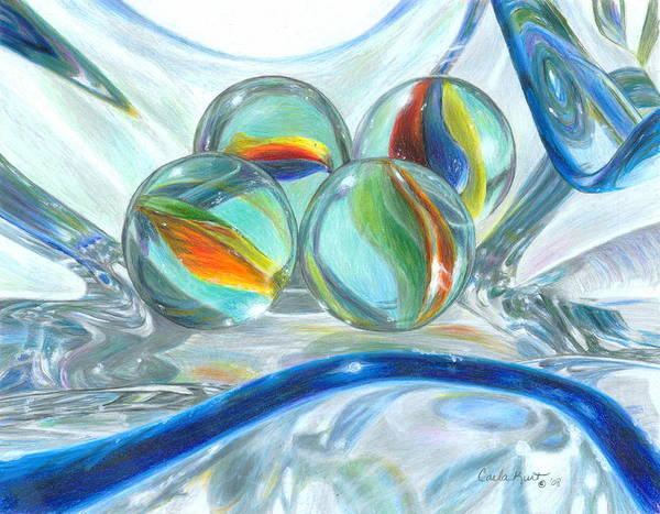Glass Art Print featuring the drawing Bowl Of Marbles by Carla Kurt