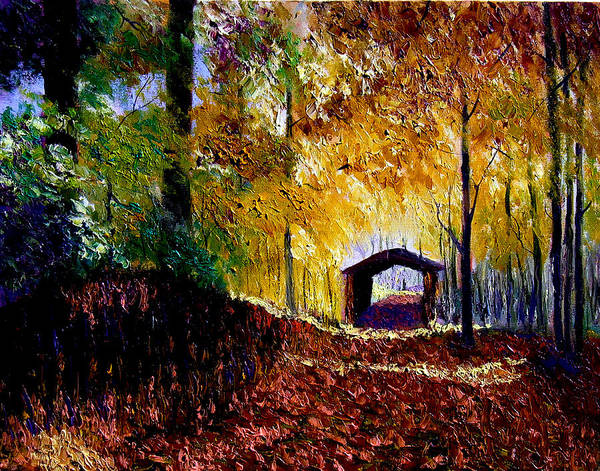 Ridge Art Print featuring the painting Brown County Covered Bridge by Stan Hamilton