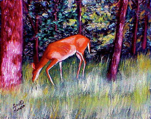 Deer Art Print featuring the painting Brown County Deer by Stan Hamilton