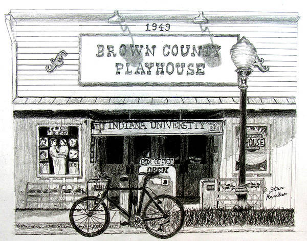 Graphite Art Print featuring the drawing Brown County Playhouse by Stan Hamilton