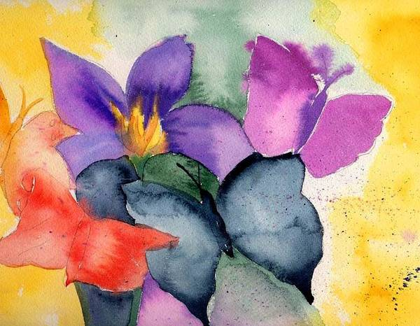 Butterflies Art Print featuring the painting Butterflies by Janet Doggett