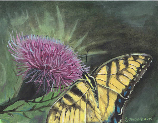 Butterfly Art Print featuring the painting Butterfly On Thistle 2010 by Cheryl Johnson