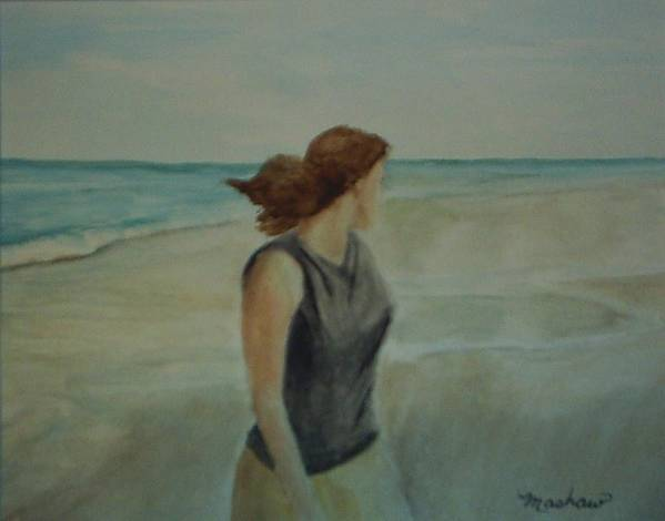 Ocean Art Print featuring the painting By The Sea by Sheila Mashaw