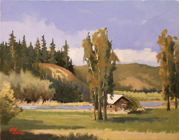Landscape Art Print featuring the painting Cabin On The Kootenai by Dalas Klein