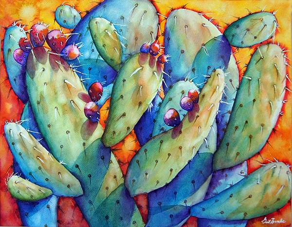 Still Life/ Cactus Art Print featuring the painting Cactus by Gail Zavala