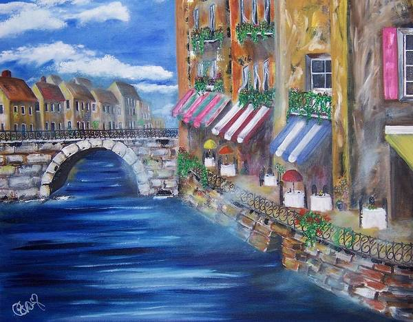 Landscape Art Print featuring the painting Cafe Walk by Penny Everhart