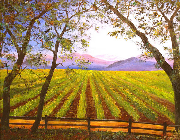 Connie Tom Art Print featuring the painting California Napa Valley Vineyard by Connie Tom