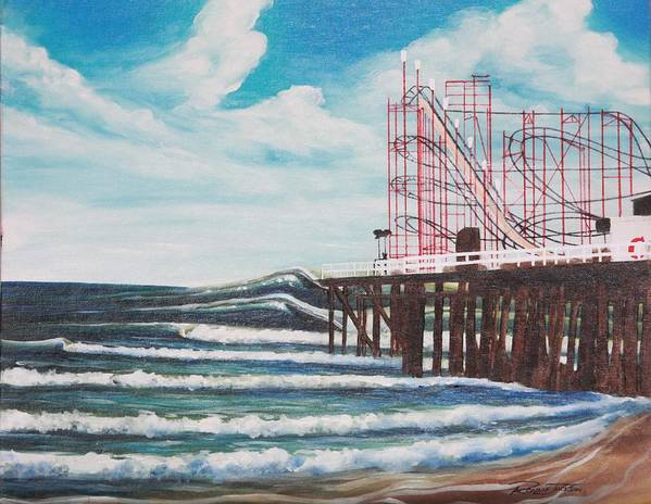 Surf Art Print featuring the painting Casino Pier N.j. by Ronnie Jackson