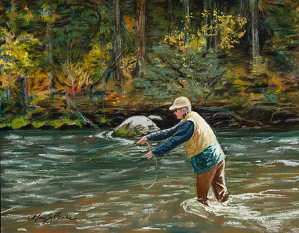 Fly Fishing Art Print featuring the painting Cast Away by Mary Benke