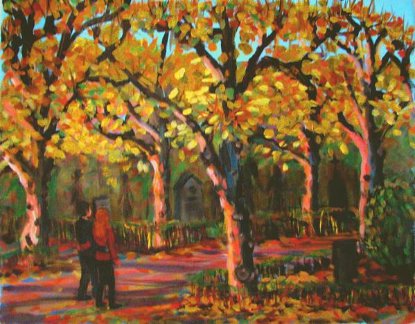 Walk Art Print featuring the painting Cemetary In Autumn by Art Nomad Sandra Hansen