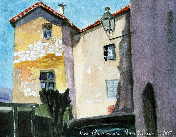Italy Art Print featuring the painting Cesi Apartments Italy by Tom Herrin