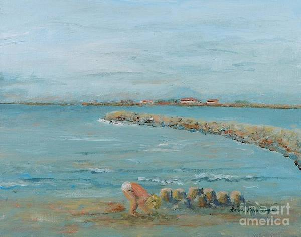Beach Art Print featuring the painting Child Playing At Provence Beach by Nadine Rippelmeyer