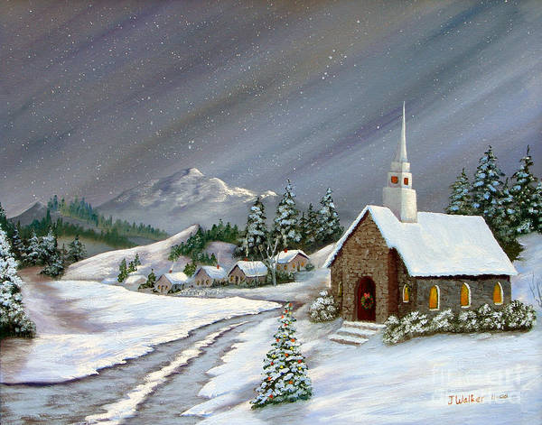 Church Art Print featuring the painting Christmas Church by Jerry Walker
