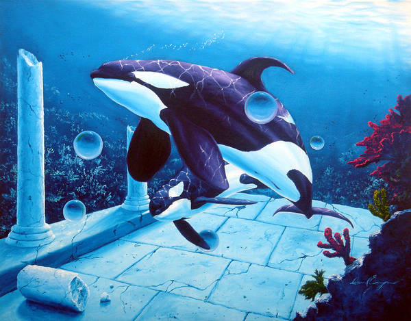 Dolphin Art Print featuring the painting Citizens Of The Lost Empire by Daniel Bergren