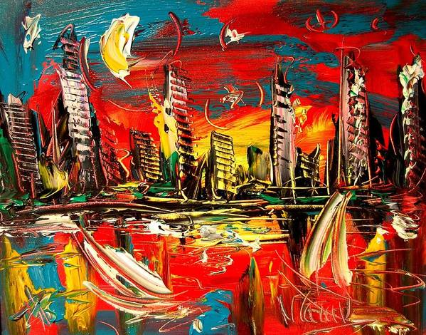 Red Poppies Art Print featuring the painting City Moon by Mark Kazav