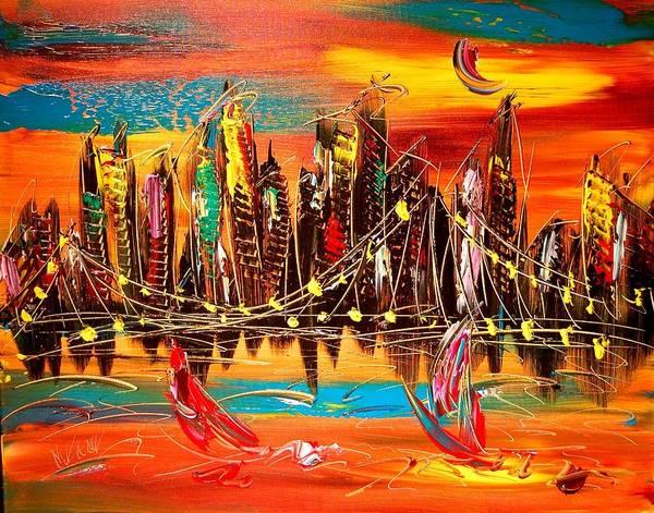 New York Art Print featuring the painting City Ny by Mark Kazav