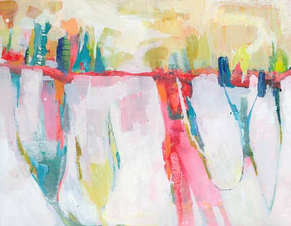 Abstract Landscape Art Print featuring the painting Cityline Swing by Donna Weathers