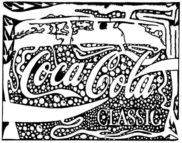 Coca Art Print featuring the drawing Coca-cola Maze Advertisement by Yonatan Frimer Maze Artist