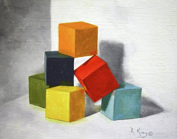 Roena King Art Print featuring the painting Colorful Blocks by Roena King