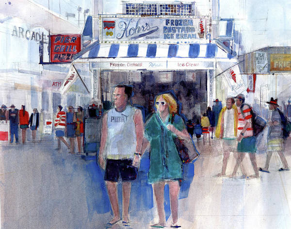 Art Print featuring the painting Colors Of A Summer - Jersey Shore by Dorrie Rifkin