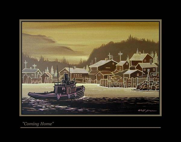Seascape Tugboat At Northern Fishing Village Art Print featuring the painting Coming Home by Walt Green