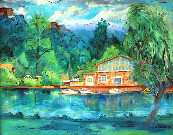 Cauga Lake Art Print featuring the painting Cornell Boathouse by Ethel Vrana