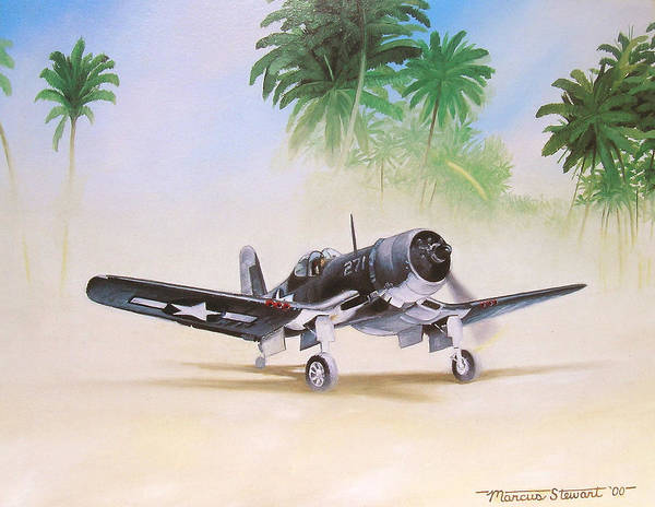 Aviation Art Print featuring the painting Corsair Preflight by Marc Stewart