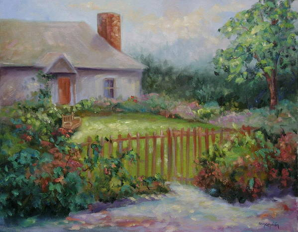 Cottswold Art Print featuring the painting Cottswold Cottage by Ginger Concepcion