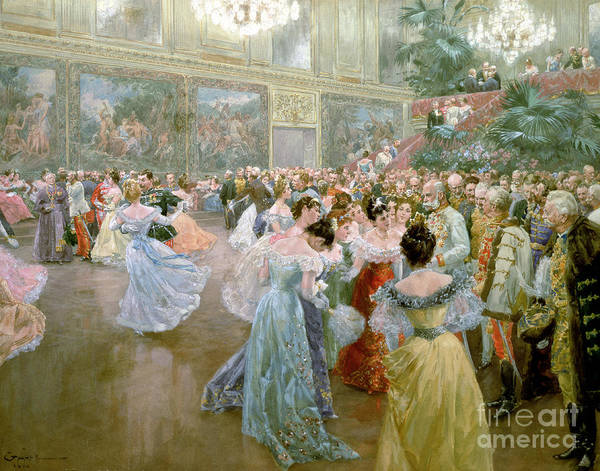 Court Ball At The Hofburg Art Print featuring the painting Court Ball At The Hofburg by Wilhelm Gause