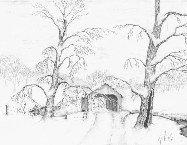 Realistic Drawing Art Print featuring the drawing Covered Bridge by Dan Theisen