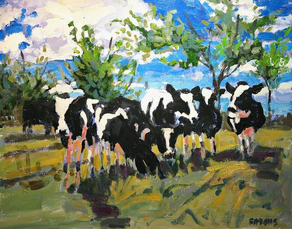 Landscape Art Print featuring the painting Cowscape by Brian Simons