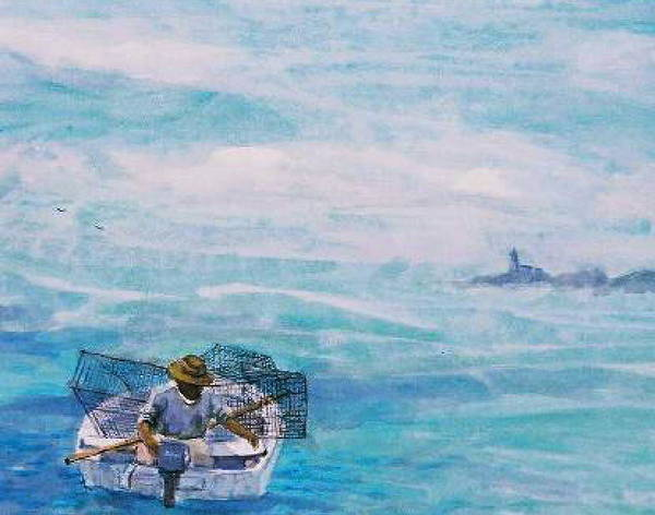 Crab Traps Art Print featuring the painting Crab Traps by Ruth Mabee