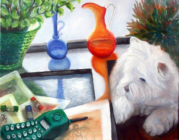 Dog Art Print featuring the painting Creative Reflections by Minaz Jantz