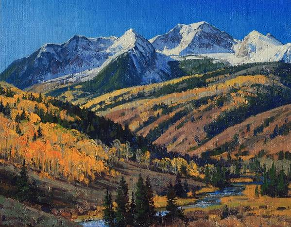 Landscape Art Print featuring the painting Crystal River Valley by Lanny Grant
