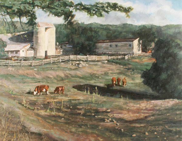 Cows Art Print featuring the painting Dairy Farm On Route 34 by Robert Tutsky