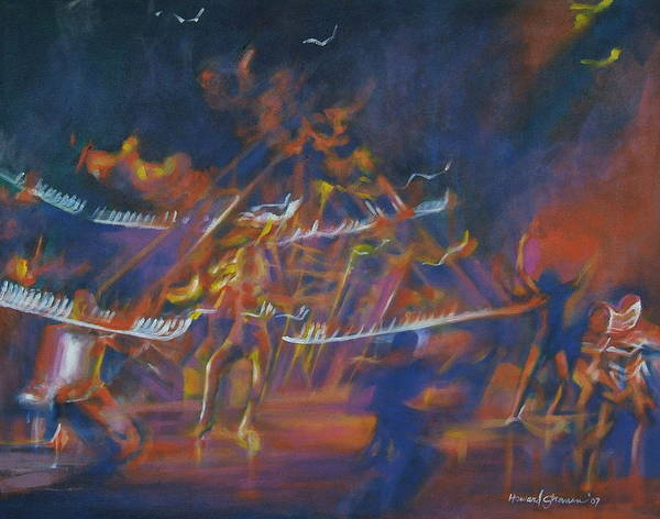 Music And Dance Art Print featuring the painting Dancin by Howard Stroman