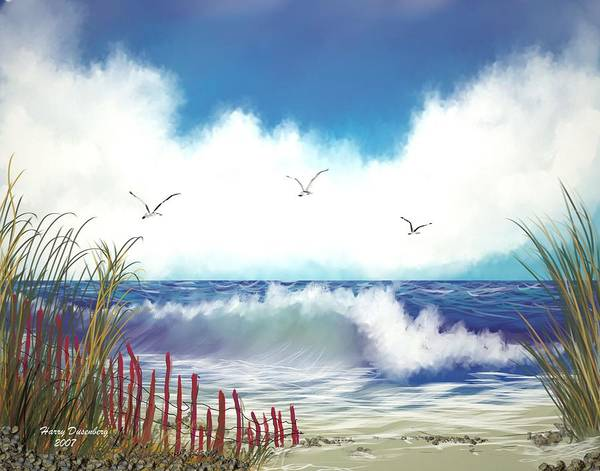 Sea Art Print featuring the painting Day At The Beach by Harry Dusenberg