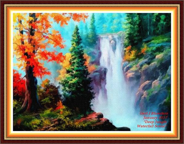 Sky Trees Art Print featuring the painting Deep Jungle Waterfall Scene L A With Alt. Decorative Ornate Printed Frame. by Gert J Rheeders