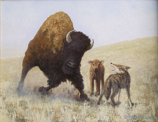 Bison Art Print featuring the painting Defending A Young One by Steven Welch