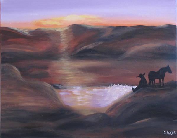 Desert Art Print featuring the painting Desert Sunset by Aleta Parks