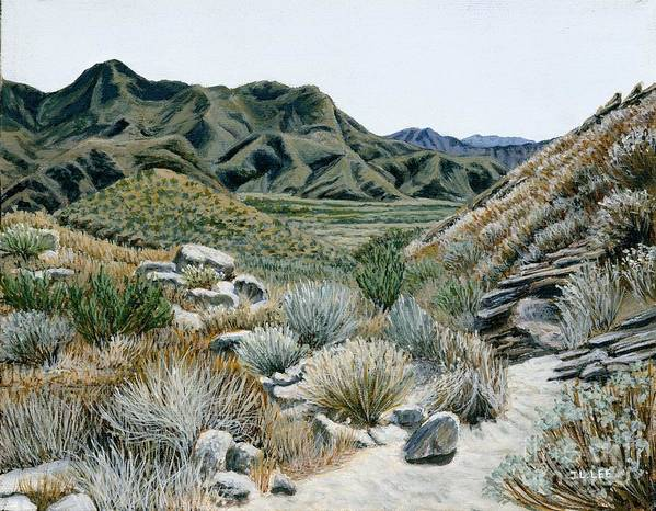 Landscape Painting Art Print featuring the painting Desert Trail by Jiji Lee