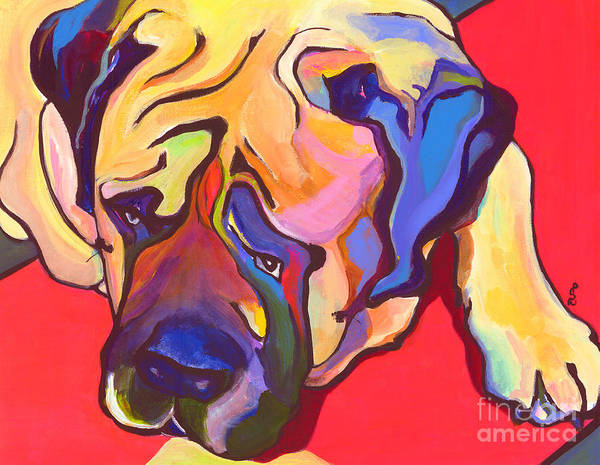 Mastiff Art Print featuring the painting Diesel  by Pat Saunders-White
