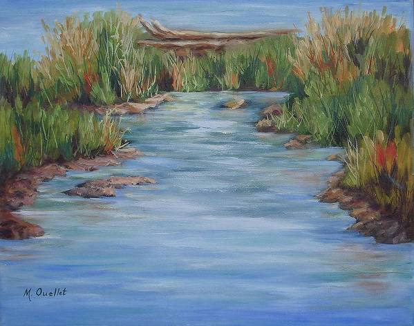 Landscape Art Print featuring the painting Downstream by Maxine Ouellet