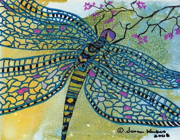 Dragonfly Art Print featuring the mixed media Dragonfly And Cherry Blossoms by Susan Kubes