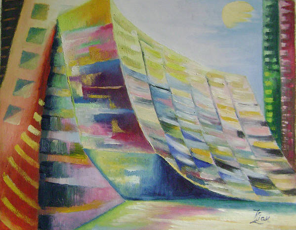 Abstract Art Print featuring the painting Dream City No.6 by Lian Zhen
