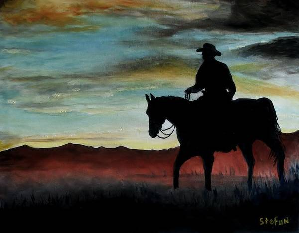 Cowboy Art Print featuring the painting Early Morning Ride by Stefon Marc Brown
