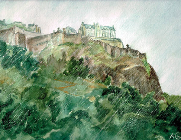 Castle Art Print featuring the painting Edinburgh Castle by Andrew Gillette